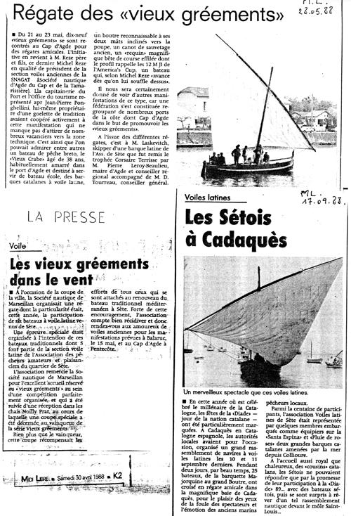 1988 partic régates Agde Marseillanb